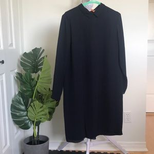 COS navy blue long sleeve silky dress size 10